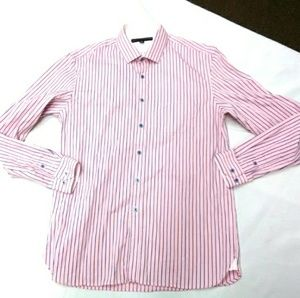 Report collection men's shirt size L 16 Pink Strip
